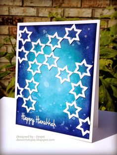 Welcome back to Day 6 of September Sneak Peek Week! Today we have a really fun Fri-Die set to show you! It was designed to coordi. Hanukkah Cards, Christmas Hanukkah, Hannukah, Happy Hanukkah, Diy Christmas Cards, Holiday Cards, Jewish Celebrations, Jewish Crafts, Handmade Card Making