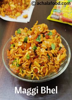 Maggi Bhel recipe with step by step photos and video recipe – is a savoury and tangy snack and is also a type of chaat. Maggi Recipes, Veg Recipes, Spicy Recipes, Indian Food Recipes, Cooking Recipes, Indian Snacks, Snacks Recipes, Capsicum Recipes, Indian Appetizers