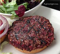 Veggie Burger at the Cheesecake Factory - all vegan - made with farro, brown rice, black beans, beets & onion!  It's delicious!