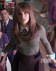 Rachel's grey collared sweater and black skirt on Glee. Outfit Details: https://wornontv.net/43443/ #Glee