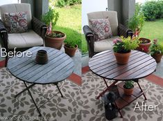 Great tutorial! :) before-and-after restored wood table