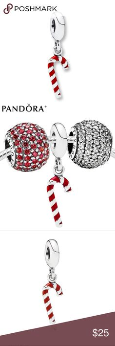 Pandora Original Candy Cane Charm Sterling Silver A PANDORA candy cane accented in red enamel stripes dangles from this 12 Days of Christmas charm Holiday collection Metal STERLING SILVER  RED ENAMEL Crafted from sparkling sterling silver and vibrant red enamel, this candy cane charm is guaranteed to fill you with the holiday spirit.  Great condition minor scratches which occur in pure silver Has 925 Stamp Price Firm already a great deal since I purchased it for nearly double the listing…