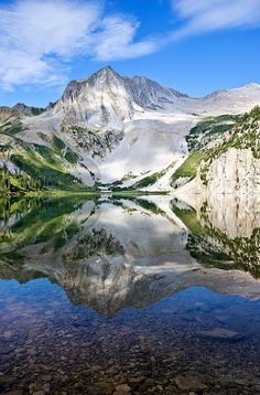 Snowmass Lake Reflection: Snowmass Lake is one of the most spectacular locations in Colorado. This gem of a lake is located near Aspen, Colorado at the foot of one of Colorado's most majestic 14ers, Snowmass Mountain.