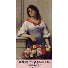 Gobelin Tapestry Kit - Venetian Flower by Eugene de Blaas Tapestry Kits, Counted Cross Stitch Kits, Venetian, Flowers, Diy, Goblin, Bricolage, Do It Yourself, Royal Icing Flowers