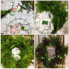 """Make several separate bouquets (I think I made 10) & use floral wire to hold the """"bouquets"""" together. Layer the bouquets on top of each other going around the frame; bending the wire arms over the foliage to hold them in place. Once you have all your greenery attached decorate the wreath. If you want lights simply wrap a strand of battery operated lights around the wreath hiding the wire under the greenery."""