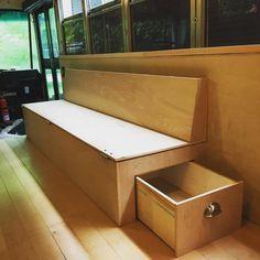 DIY Folding Couch PlansAsk a question Van Conversion Interior, Camper Van Conversion Diy, Vw Camper Conversions, U Couch, Motorhome, Folding Couch, Folding Furniture, Mcm Furniture, Plywood Furniture