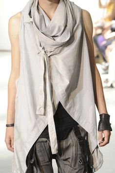 Julius SS12 --- I love these looks. Maybe take a wrap-around skirt and add armholes after you figure out how it will drape.