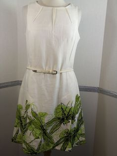 Talbots Dress, White with green floral at hem line, belted, size 8 #Talbots #Sheath #Casual