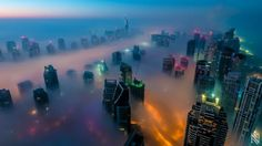 Dubai's epic fog invading the Marina