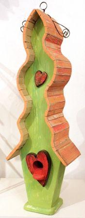 Birdhouse - Love Birds Orange & Green (AS34)