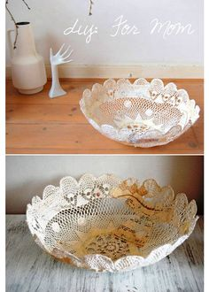 I'm not a fan of the paper and random things sewn to the inside of the basket but I love the process for turning a doily into a basket!