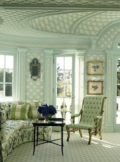 Treillage Room Designed By Anthony Baratta . Love the Lattice! Beautiful Interiors, Colorful Interiors, Beautiful Homes, Interior And Exterior, Interior Design, Design Art, Living Spaces, Living Room, Green Rooms