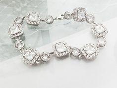 Rhinestone Wedding Bracelet - Cushion Cut Cubic Zirconia, Bridal Bracelet, CZ Wedding Bracelet on Etsy, $50.00