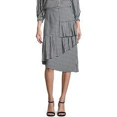 Tibi Gingham Ruffled Skirt ($198) ❤ liked on Polyvore featuring skirts, frill skirt, frilled skirt, flounce skirt, slimming skirts and long skirts