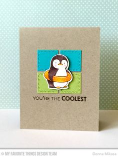summer penguin coolest card by Donna Mikasa