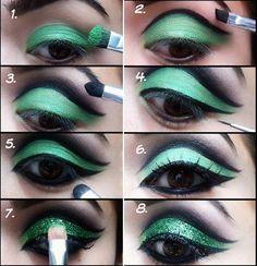maquillar ojos paso a paso en turquesa y negro