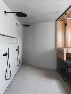 Tour A Beautiful Home In Finland Designed By Laura Seppänen Scandinavian Apartment, Scandinavian Bathroom, Spa Sauna, Sauna Design, Garage Apartment Plans, Avenue Design, Ceramic Floor Tiles, Diy Cabinets, Nordic Design