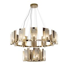 A sumptuous and sculptural piece of functional decor that will both adorn and illuminate a contemporary interior with refined sophistication, this chandelier is built on two levels for a greater visual impact. Mounted along two ring-shaped structures in gold-finished brass, each shade encloses a G9 LED lightbulb in between a shiny layer of brass and a refined piece of white Carrara marble showcasing elegant and natural veining. Please contact the Concierge for further details and… Italian Chandelier, Glass Chandelier, Pendant Lamp, Ceiling Lamp, Ceiling Lights, Venetian Glass, Carrara Marble, Glass Table, Contemporary Interior