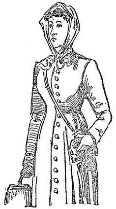 Contemporary Sketch of Annie Moore.  At fifteen, Annie Moore left Ireland with her two younger brothers to join their parents in America and was the first immigrant to pass through Ellis Island. Inspiration for Aunt Nora's traveling outfit.