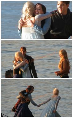 The cast filming Elsa, Anna & Kristoff reunion...love it