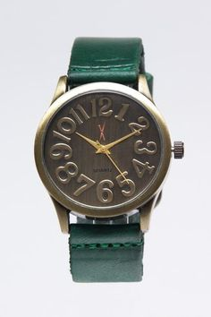 Copper Case Watch with Green Leather.