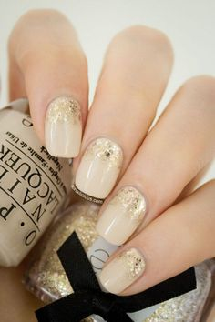 So beautiful nude and gold nail art