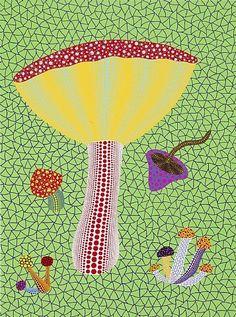 Wondrous fungal forms - Yayoi Kusama (1929 – ), Mushrooms Aown, 2010, acrylic on canvas, 97 x 130 cm, Victoria Miro Gallery.