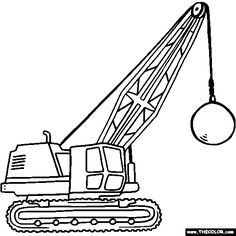 free trucks and construction vehicle coloring pages color in this picture of a wrecking ball crane and others with our library of online coloring pages - Construction Trucks Coloring Pages