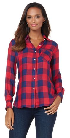 Bring a touch of Americana to your wardrobe with a classic plaid shirt! A fashion workhorse, this shirt can be layered over, layered under, worn open, tied at the waist, sleeves rolled - you get the idea! In fact, you'll wear it so many ways it won't even seem like the same shirt! What would you pair with this top?