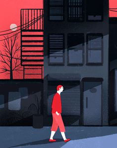 'Walk': digital illustration by Geraldine Sy Illustration Fantasy, Illustration Design Graphique, Comics Illustration, People Illustration, Flat Illustration, Illustrations And Posters, Character Illustration, Digital Illustration, Poster Art