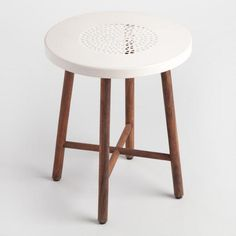 White Metal and Wood Tristan Stool - v1