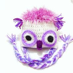 Crochet Baby Owl Hat Baby Lavender White Owl Hat by RoseAndKnitYou can find Owl hat and more on our website.Crochet Baby Owl Hat Baby Lavender White Owl Hat by RoseAndKnit Baby Girl Owl, Baby Girl Hats, Baby Owls, Girl With Hat, Crochet For Boys, Crochet Baby Hats, Crochet Character Hats, Newborn Beanie, Owl Hat