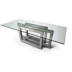 Mesa de comedor / moderna / de cristal / de metal pintado GONZALO DE SALAS
