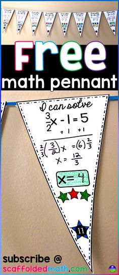 Get a FREE math pennant for subscribing to Scaffolded Math and Science. This free math pennant is a solving 2 step equations algebra activity. There are 20 math pennants (20 with QR codes and 20 without QR codes). You will also get access to lots more free math resources.