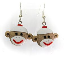 Brown Sock Monkey Face Earrings Made to Order in by MagicByLeah, $18.00