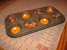 Candles in a muffin tin