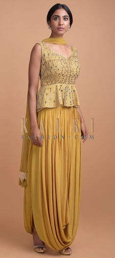 Honey yellow sleeveless peplum top in raw silk embellished with mirror abla, sequins, cut dana and pearls in stripes pattern all over. One Piece Outfit, One Piece Dress, Lehenga Top, Peplum Top Outfits, Mehndi Outfit, New Kurti Designs, Satin Skirt, Draped Dress, Salwar Kameez