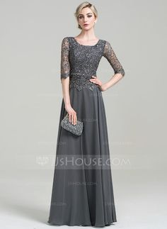 A-Line/Princess Scoop Neck Floor-Length Beading Sequins Zipper Up Sleeves 1/2 Sleeves No Steel Grey General Plus Chiffon Height:5.7ft Bust:33in Waist:24in Hips:34in US 2 / UK 6 / EU 32 Mother of the Bride Dress
