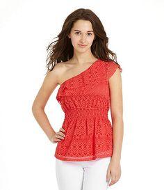 01c3134c64 Available at Dillards.com  Dillards I love one shoulder tops! Eyelet Top