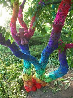 Crochet Tree = This lady does the most amazing crochet art I have ever seen.  Please click through to her flickr picture and read the story behind this tree and the fairy tale she wrote to go with it.  It is amazing.  Her entire photo stream is filled with beauty!