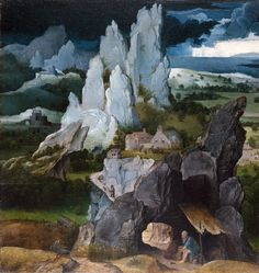 "Workshop of Joachim Patinir ""San Jerónimo en un paisaje rocoso / St. Jerome in Rocky Landscape"",Óleo sobre panel / oil on panel, 36,5 x 34 cm., c.1515-24. National Gallery (Londres, Inglaterra / London, England)"