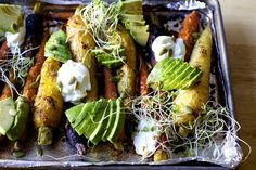spiced roasted carrots with avocado and yogurt from Smitten Kitchen