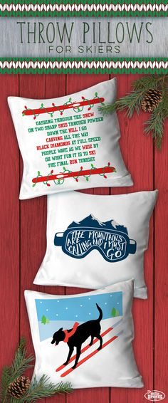 Give your family room or bedroom some winter fun with these festive Skiing throw pillows. Perfect for those overnight ski trips and long car rides. A great Christmas gift for all the skiers on your list.