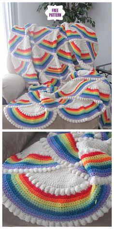 Crochet Rainbow Afghan Free Crochet Pattern – Her Telden News Crochet Afghans, Crochet Ripple Afghan, Crochet Quilt, Afghan Crochet Patterns, Baby Blanket Crochet, Crochet Yarn, Free Crochet, Knitting Patterns, Crochet Blankets