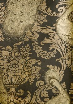 Byron Wallpaper Inspired black damask wallpaper with metallic gold peacocks. by Cole & Son