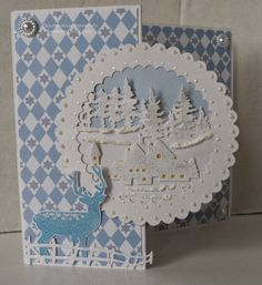 Handmade Christmas card. Marianne Creatables dies - Tiny Village, Tiny Pine Trees. Imagination Crafts' Sparkle Medium. Hobby House patterned card.
