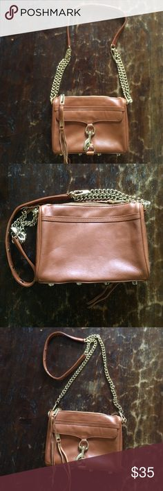 Almond color Mini Mac Leather purse This classic leather brown staple is gently used and in good condition, with one minor unnoticeable leather mark and a minor metal chip that also is unnoticeable. It fits all your basics and is perfect as a day to night purse. Goes with literally everything and is great quality. Rebecca Minkoff Bags Crossbody Bags