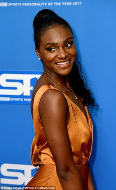 Looking good: Dina Asher-Smith turned heads in a bronze gown, styling her chic tresses int. Dina Asher Smith, Sports Personality, Ebony Beauty, Sports Stars, Female Athletes, Lineup, Diana, Beautiful Women, Athletics