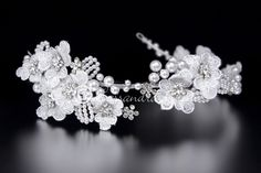 Lace Flowers Wedding Headband with Pearls and Rhinestones