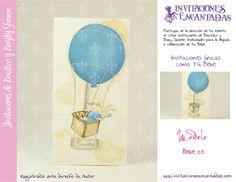 Invitacion de diptico con diseño de conejos en globo aerostatico